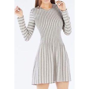 BCBGMAXAZRIA Marlin Striped Lace Jacquard Dress